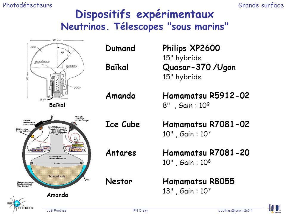 Dispositifs expérimentaux Neutrinos. Télescopes sous marins