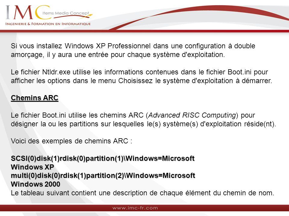 Si vous installez Windows XP Professionnel dans une configuration à double amorçage, il y aura une entrée pour chaque système d exploitation.