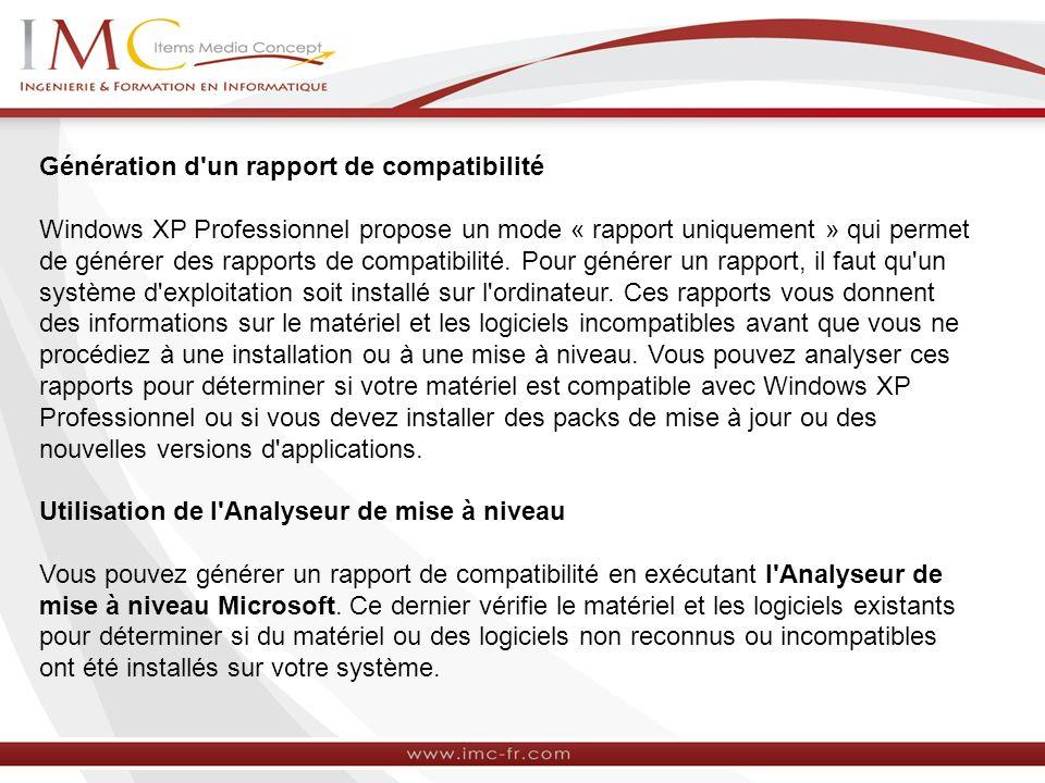 Génération d un rapport de compatibilité