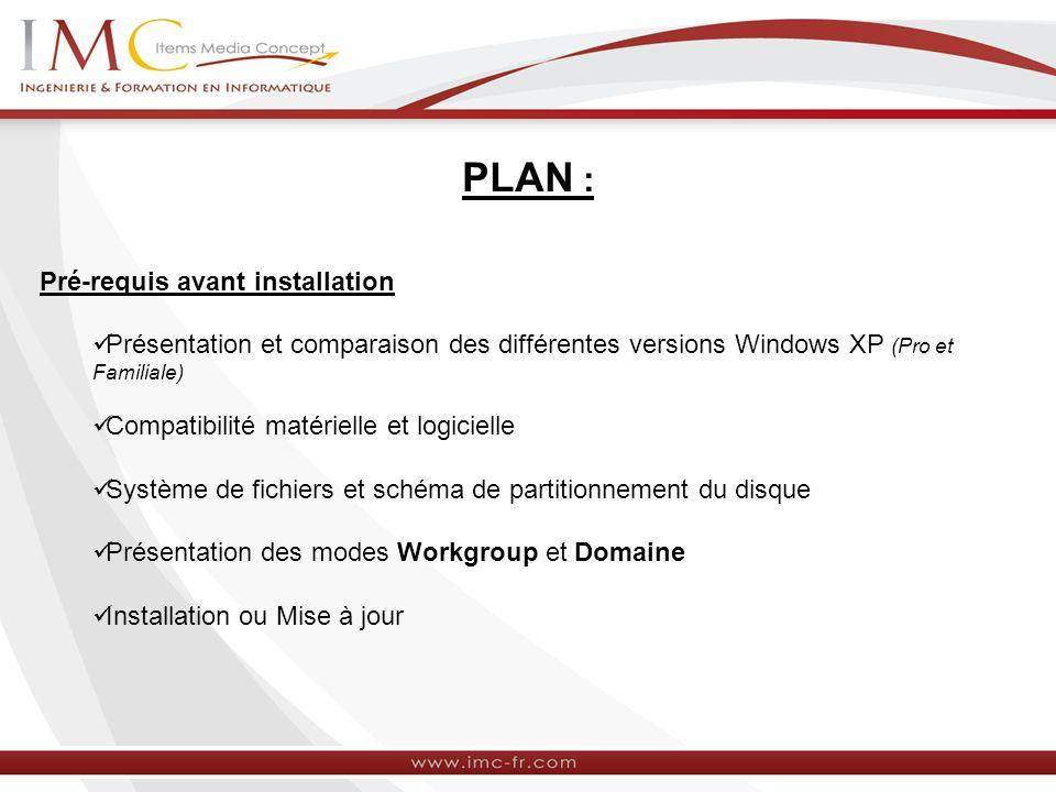 PLAN : Pré-requis avant installation