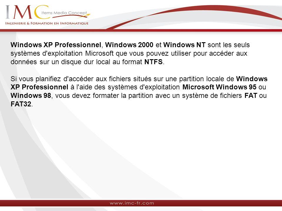 Windows XP Professionnel, Windows 2000 et Windows NT sont les seuls systèmes d exploitation Microsoft que vous pouvez utiliser pour accéder aux données sur un disque dur local au format NTFS.