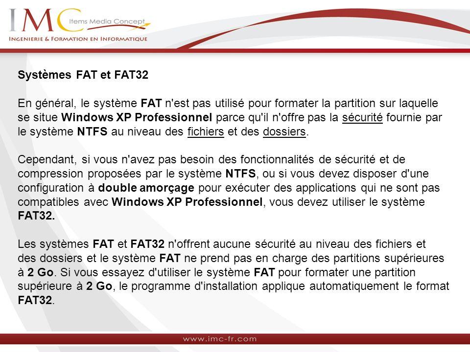 Systèmes FAT et FAT32