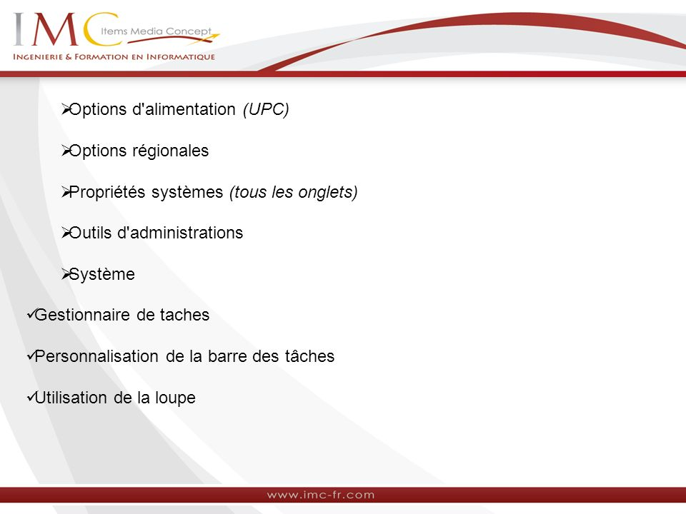 Options d alimentation (UPC)