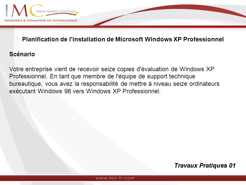 Planification de l installation de Microsoft Windows XP Professionnel