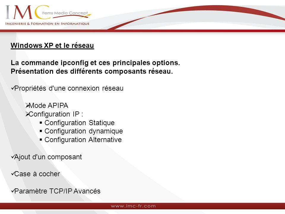 Windows XP et le réseau La commande ipconfig et ces principales options. Présentation des différents composants réseau.