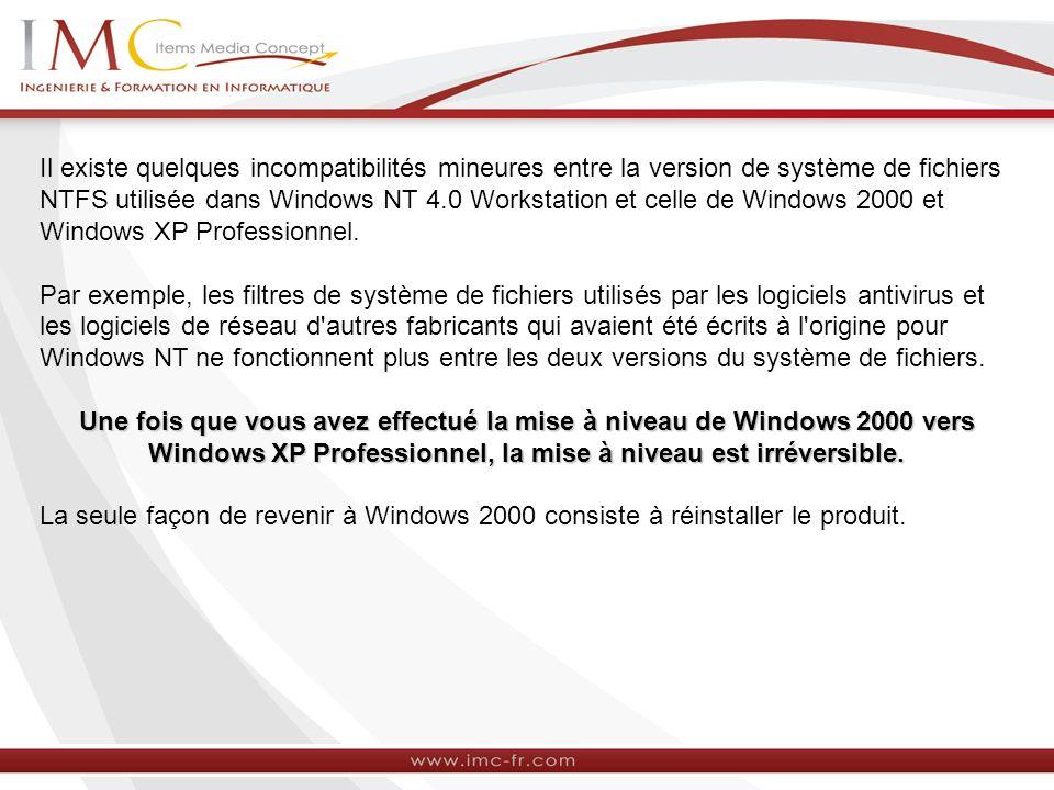 Il existe quelques incompatibilités mineures entre la version de système de fichiers NTFS utilisée dans Windows NT 4.0 Workstation et celle de Windows 2000 et Windows XP Professionnel.