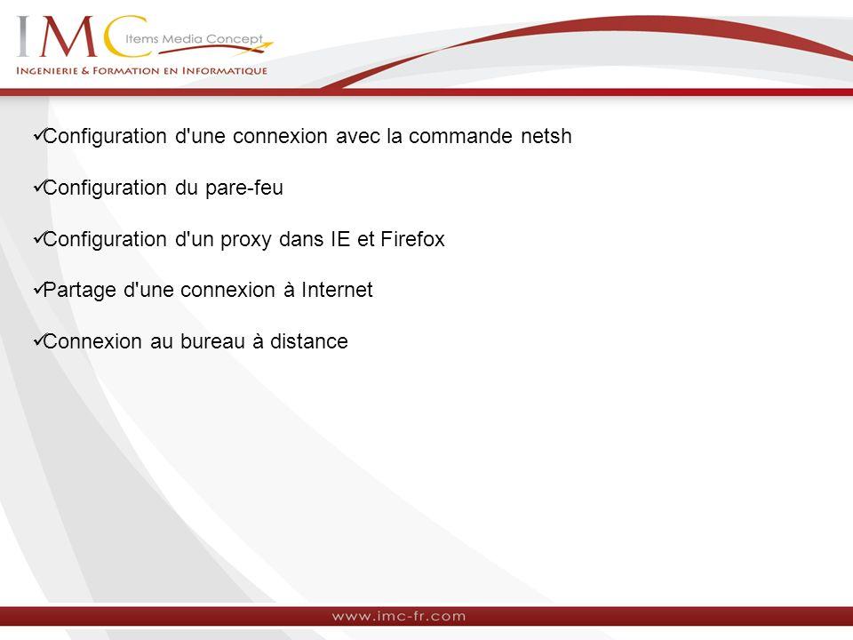 Configuration d une connexion avec la commande netsh