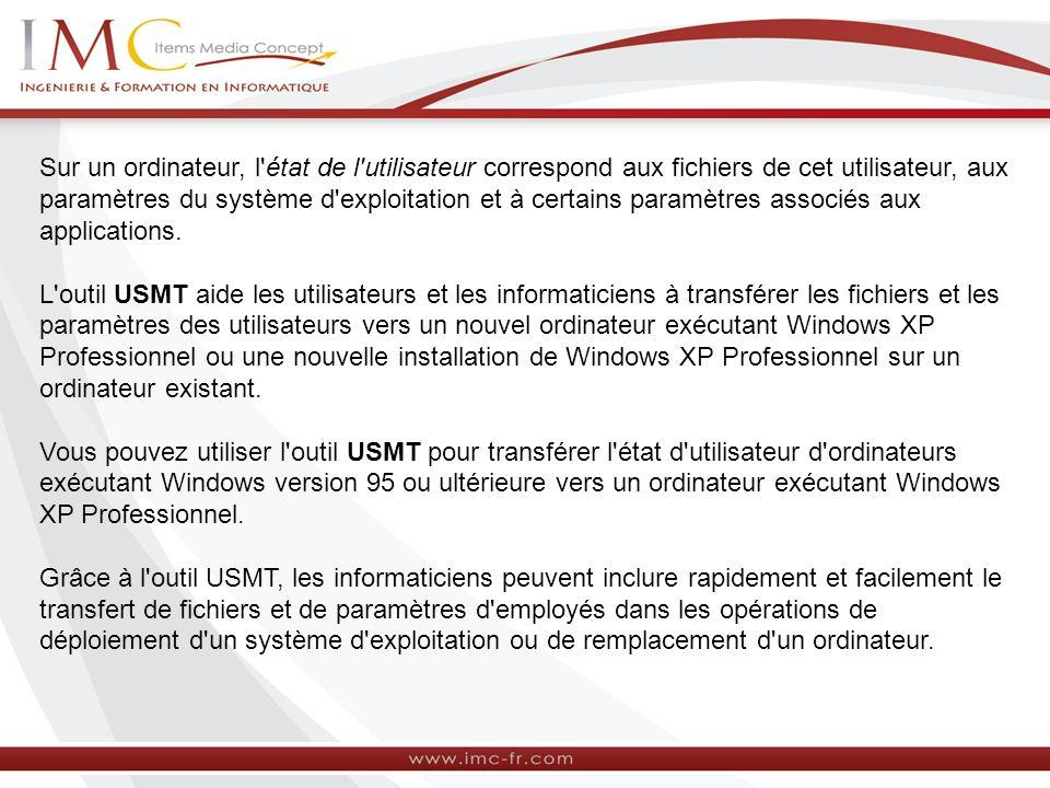Sur un ordinateur, l état de l utilisateur correspond aux fichiers de cet utilisateur, aux paramètres du système d exploitation et à certains paramètres associés aux applications.
