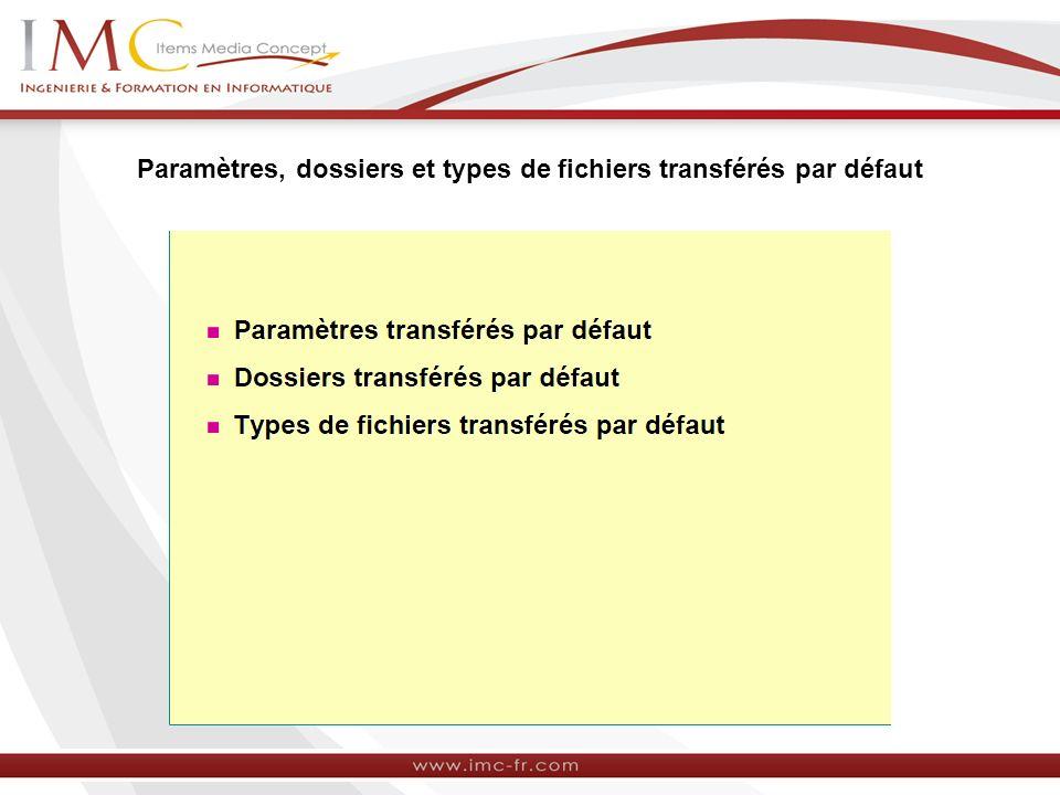 Paramètres, dossiers et types de fichiers transférés par défaut