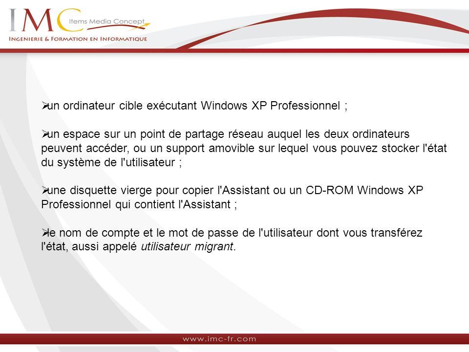 un ordinateur cible exécutant Windows XP Professionnel ;