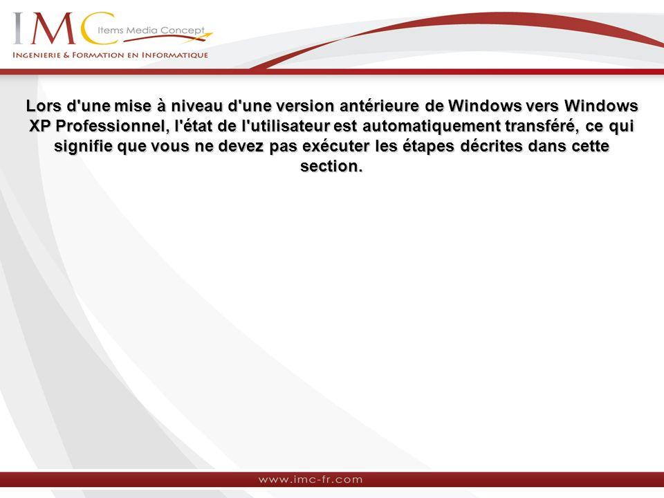 Lors d une mise à niveau d une version antérieure de Windows vers Windows XP Professionnel, l état de l utilisateur est automatiquement transféré, ce qui signifie que vous ne devez pas exécuter les étapes décrites dans cette section.