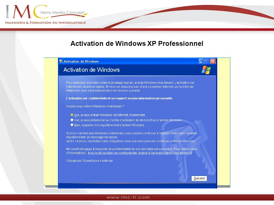 Activation de Windows XP Professionnel