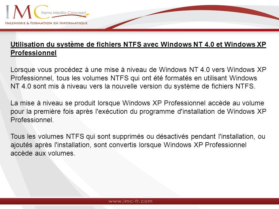Utilisation du système de fichiers NTFS avec Windows NT 4