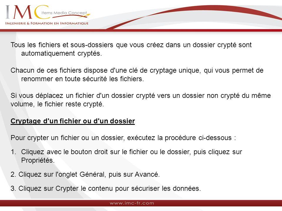 Tous les fichiers et sous-dossiers que vous créez dans un dossier crypté sont automatiquement cryptés.