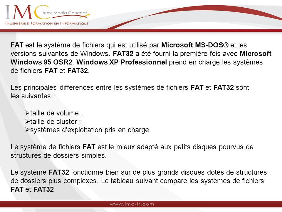 FAT est le système de fichiers qui est utilisé par Microsoft MS-DOS® et les