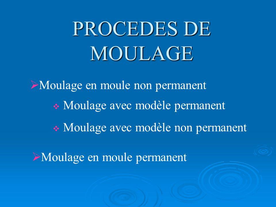 PROCEDES DE MOULAGE Moulage en moule non permanent