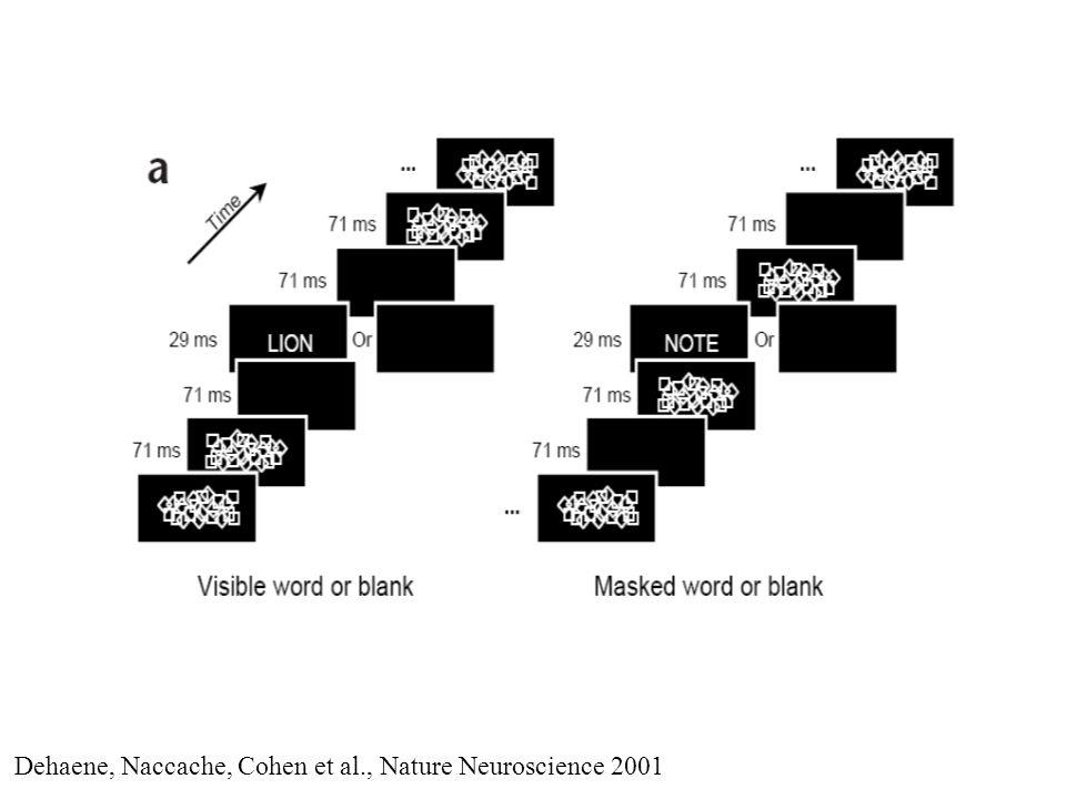 Dehaene, Naccache, Cohen et al., Nature Neuroscience 2001