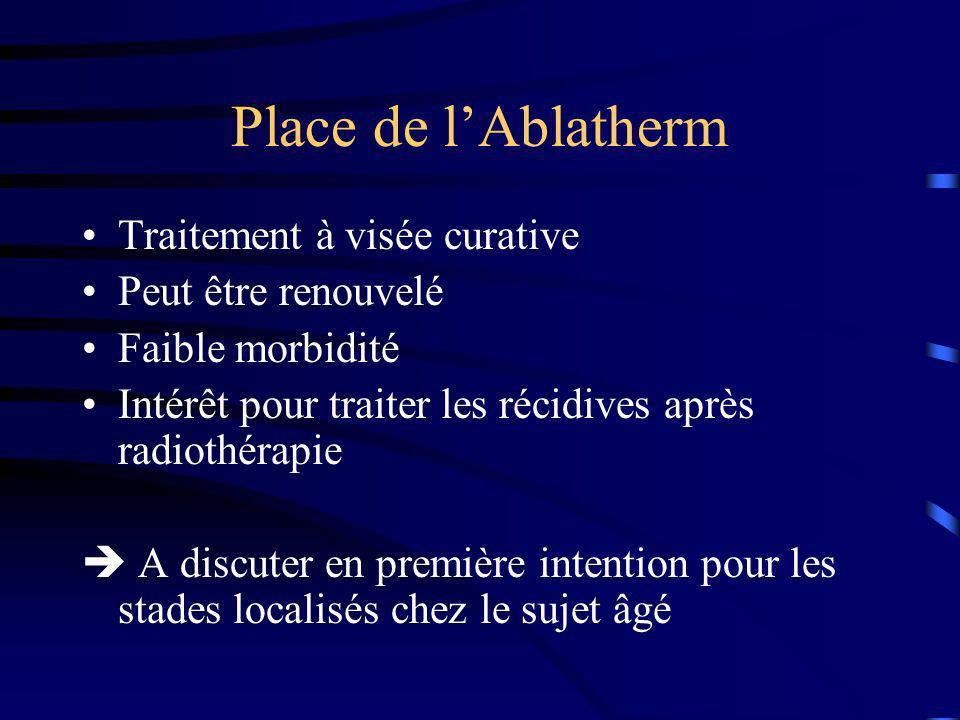Place de l'Ablatherm Traitement à visée curative Peut être renouvelé