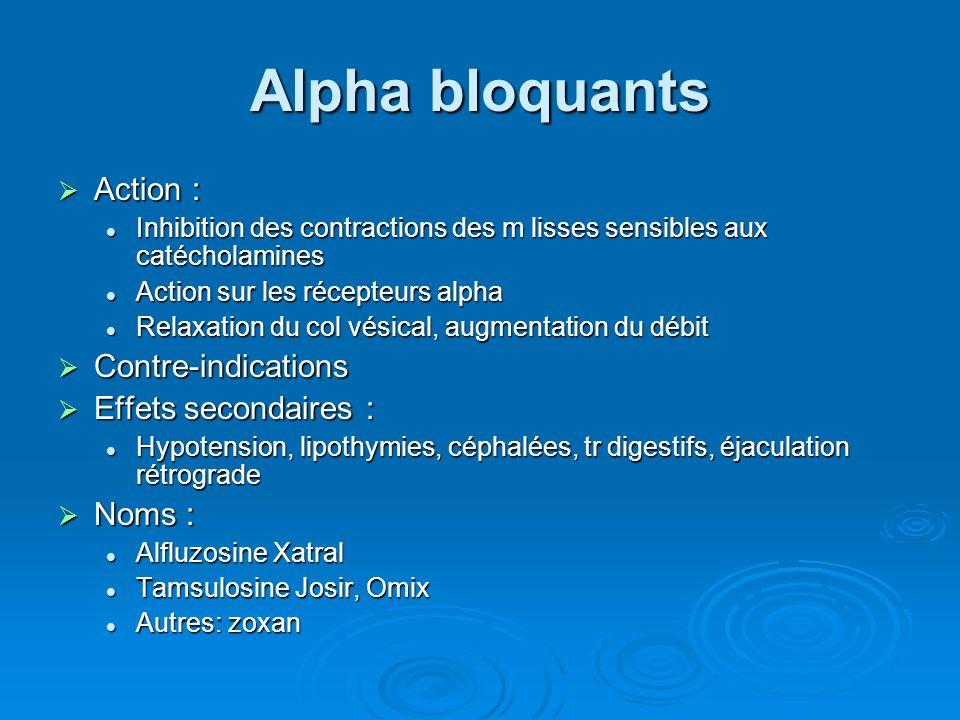 Alpha bloquants Action : Contre-indications Effets secondaires :