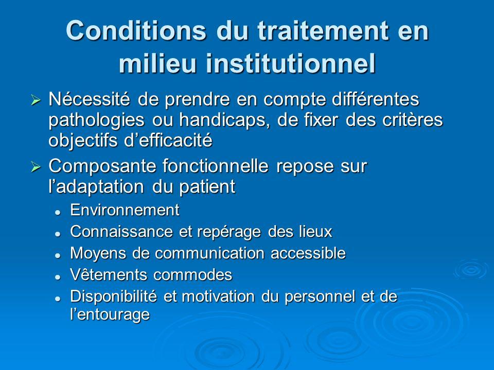 Conditions du traitement en milieu institutionnel