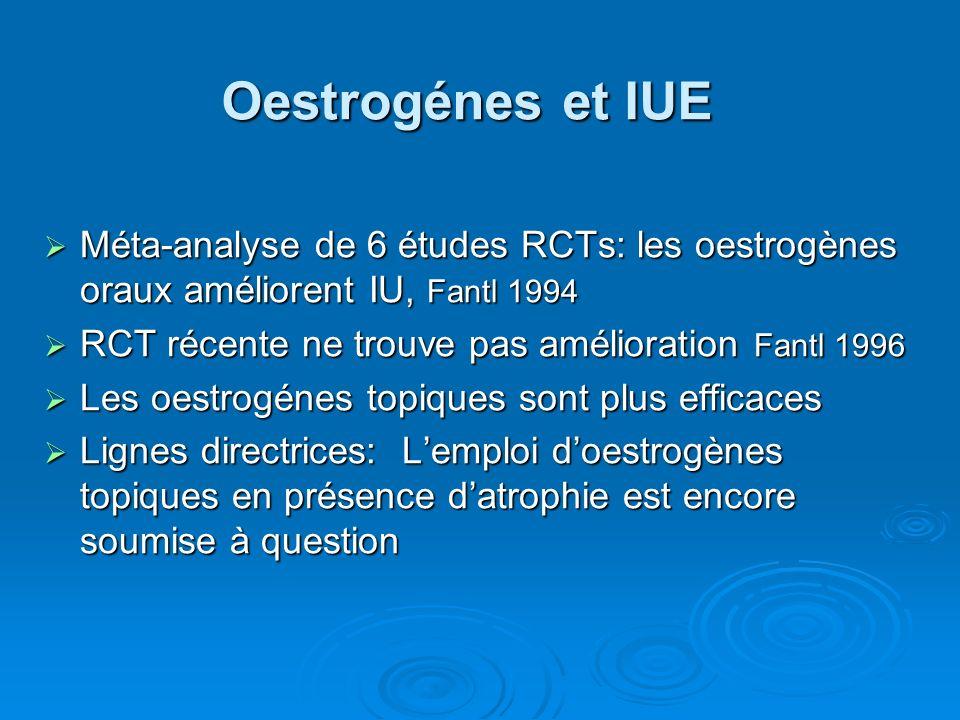 Oestrogénes et IUE Méta-analyse de 6 études RCTs: les oestrogènes oraux améliorent IU, Fantl 1994. RCT récente ne trouve pas amélioration Fantl 1996.