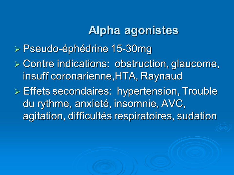 Alpha agonistes Pseudo-éphédrine 15-30mg