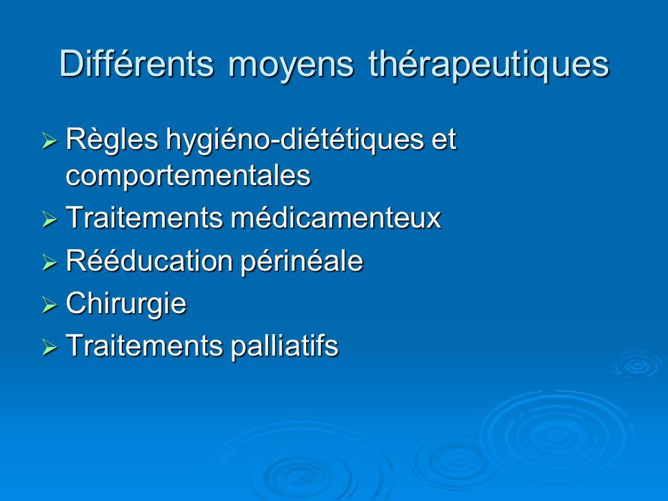 Différents moyens thérapeutiques
