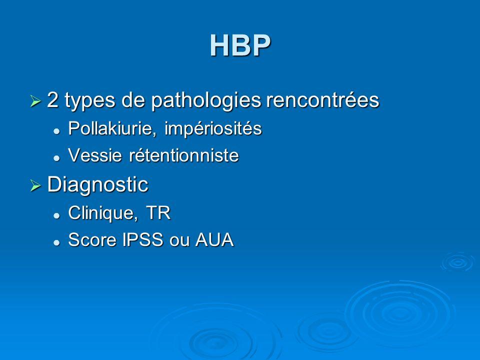 HBP 2 types de pathologies rencontrées Diagnostic