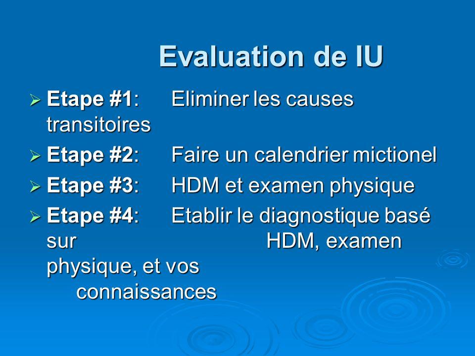Evaluation de IU Etape #1: Eliminer les causes transitoires