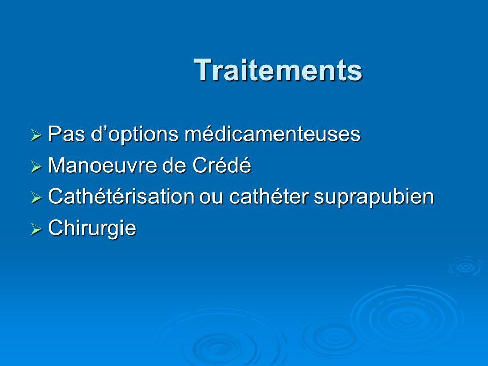 Traitements Pas d'options médicamenteuses Manoeuvre de Crédé