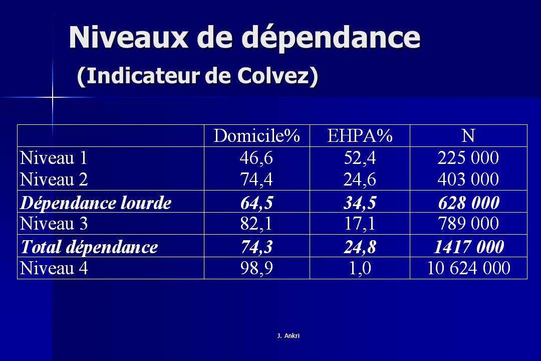 Niveaux de dépendance (Indicateur de Colvez)