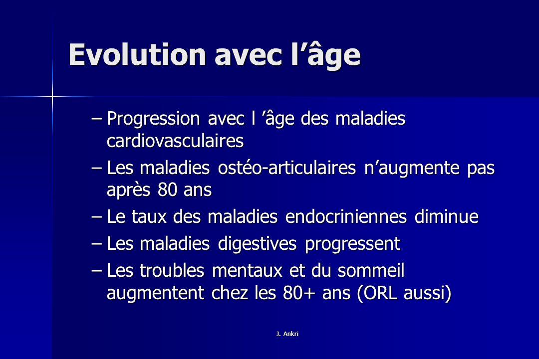 Evolution avec l'âge Progression avec l 'âge des maladies cardiovasculaires. Les maladies ostéo-articulaires n'augmente pas après 80 ans.