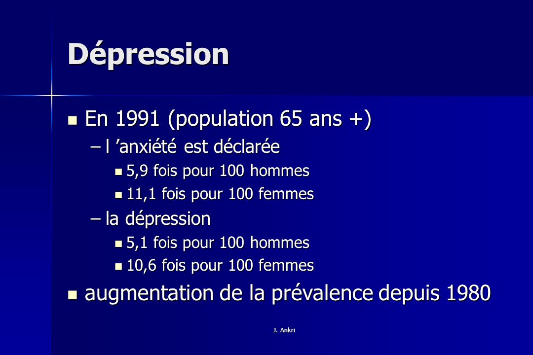 Dépression En 1991 (population 65 ans +)