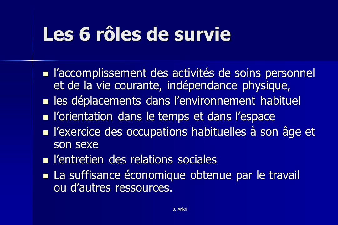 Les 6 rôles de survie l'accomplissement des activités de soins personnel et de la vie courante, indépendance physique,