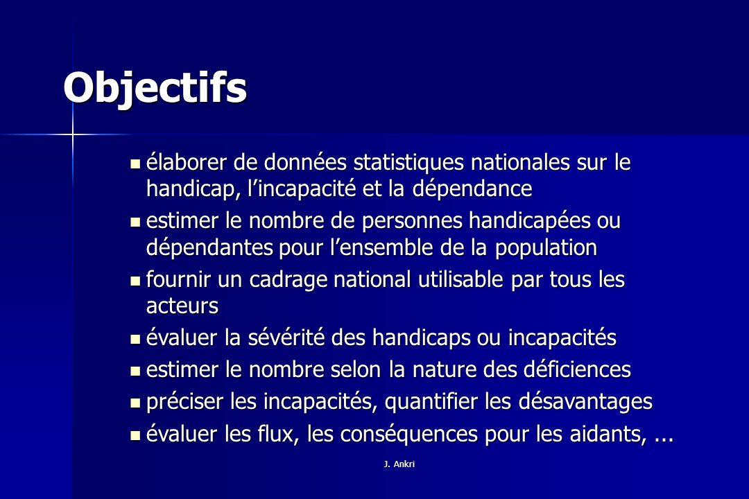 Objectifs élaborer de données statistiques nationales sur le handicap, l'incapacité et la dépendance.