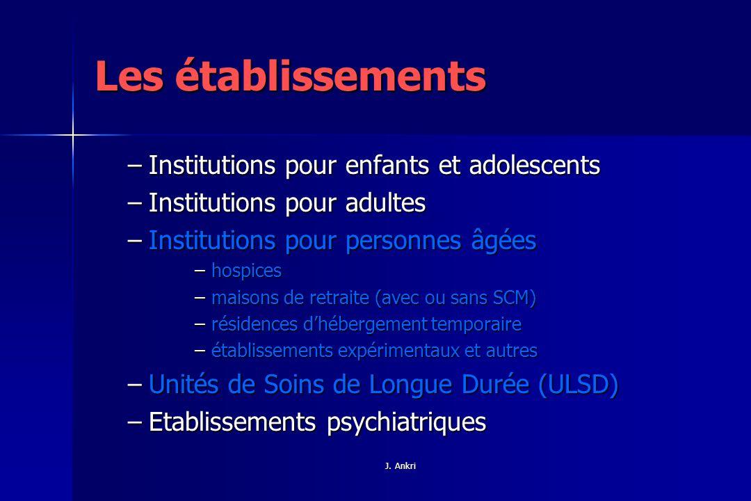 Les établissements Institutions pour enfants et adolescents