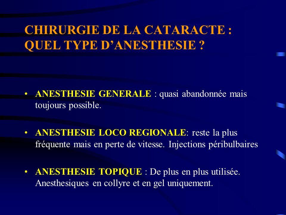 CHIRURGIE DE LA CATARACTE : QUEL TYPE D'ANESTHESIE