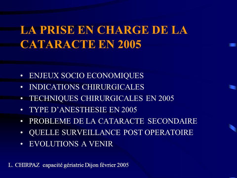 LA PRISE EN CHARGE DE LA CATARACTE EN 2005