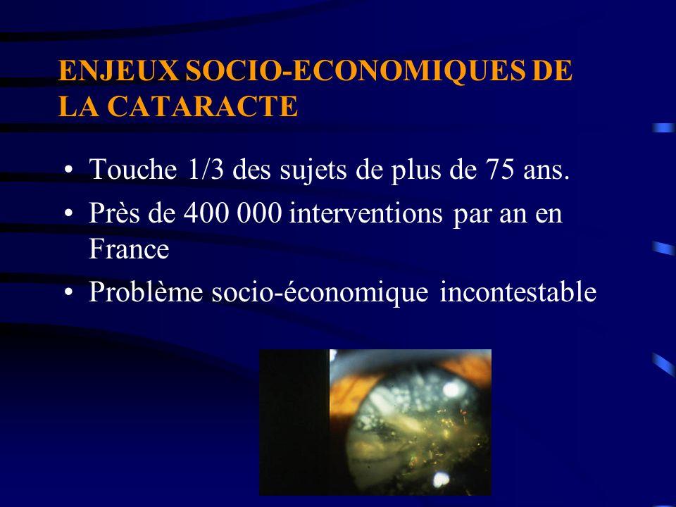 ENJEUX SOCIO-ECONOMIQUES DE LA CATARACTE