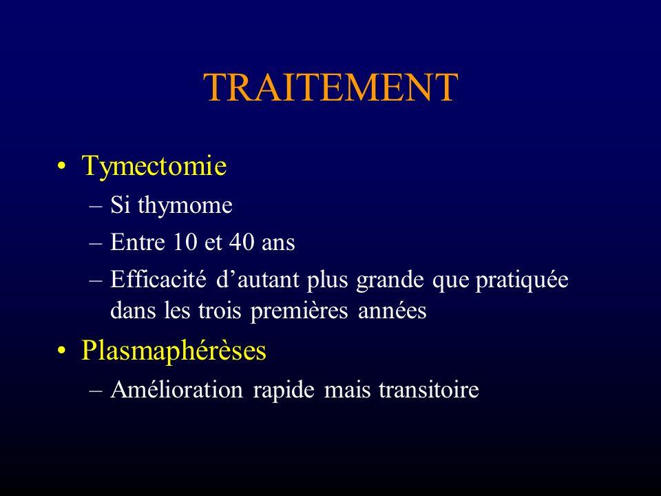 TRAITEMENT Tymectomie Plasmaphérèses Si thymome Entre 10 et 40 ans
