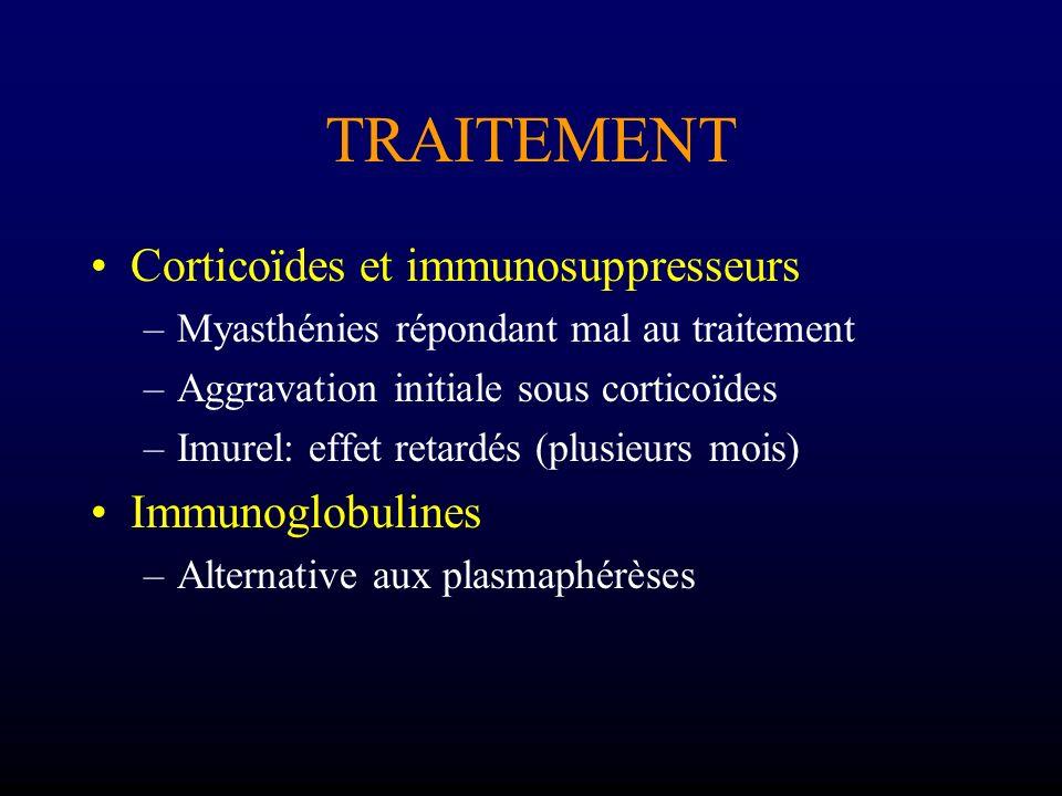 TRAITEMENT Corticoïdes et immunosuppresseurs Immunoglobulines