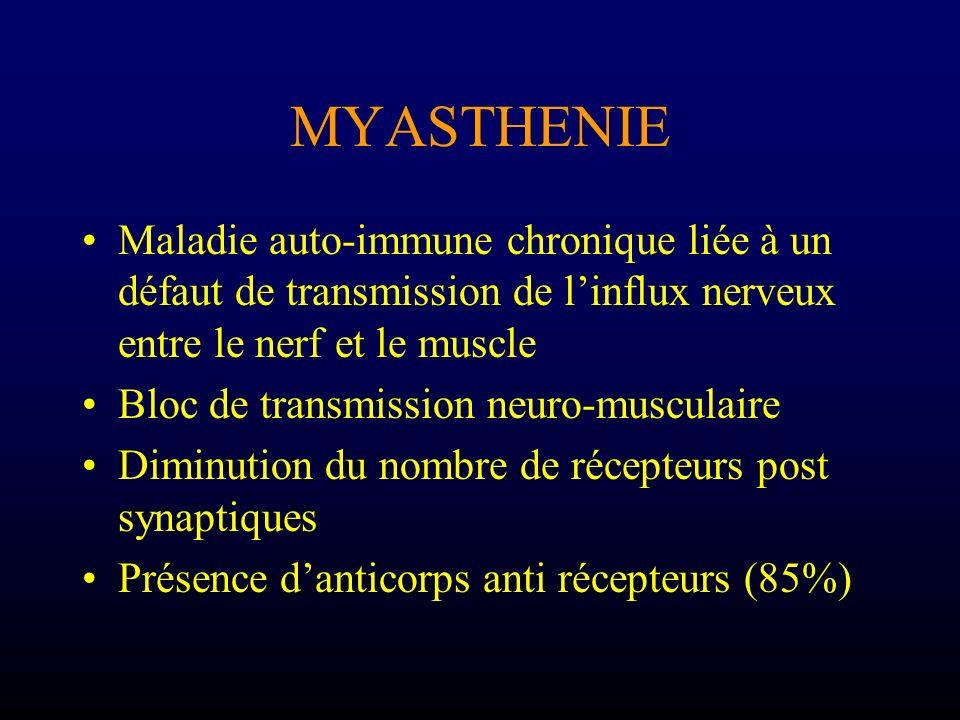MYASTHENIE Maladie auto-immune chronique liée à un défaut de transmission de l'influx nerveux entre le nerf et le muscle.
