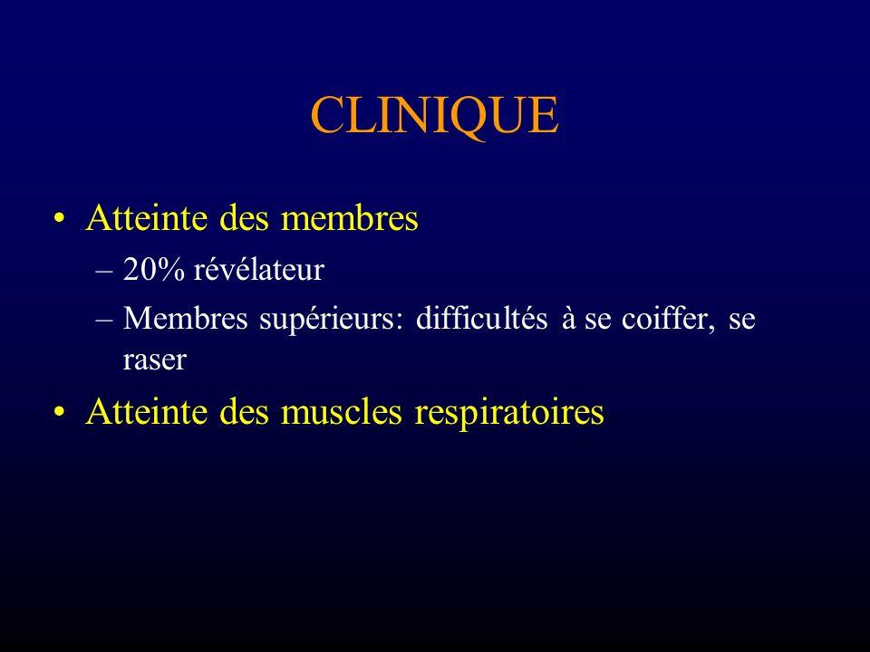 CLINIQUE Atteinte des membres Atteinte des muscles respiratoires