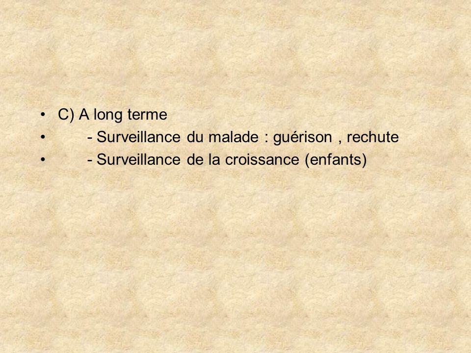 C) A long terme - Surveillance du malade : guérison , rechute.