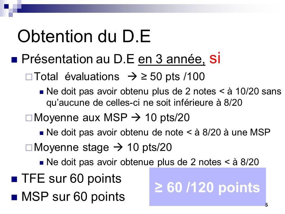 Obtention du D.E ≥ 60 /120 points Présentation au D.E en 3 année, si