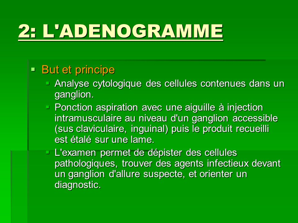 2: L ADENOGRAMME But et principe