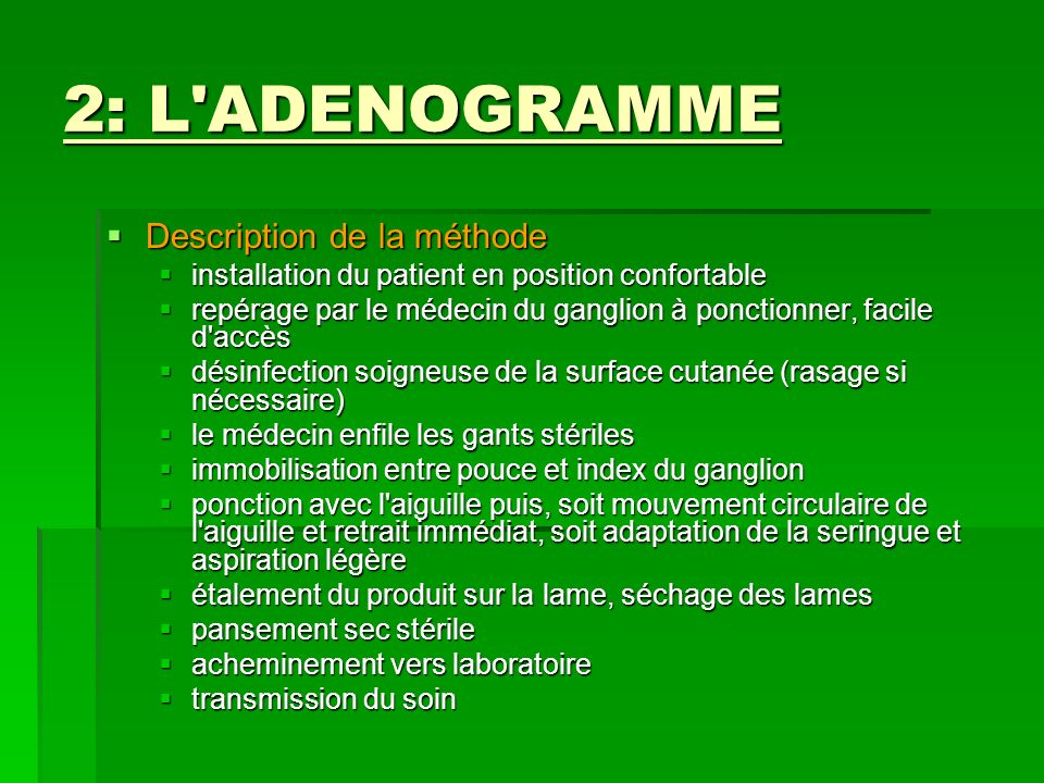 2: L ADENOGRAMME Description de la méthode