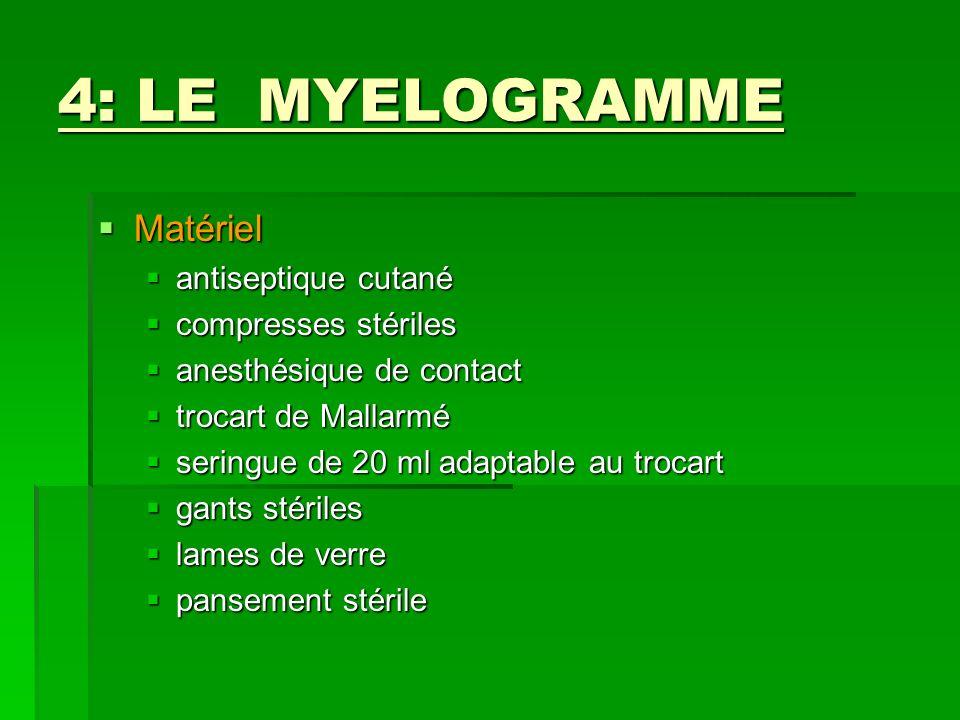 4: LE MYELOGRAMME Matériel antiseptique cutané compresses stériles