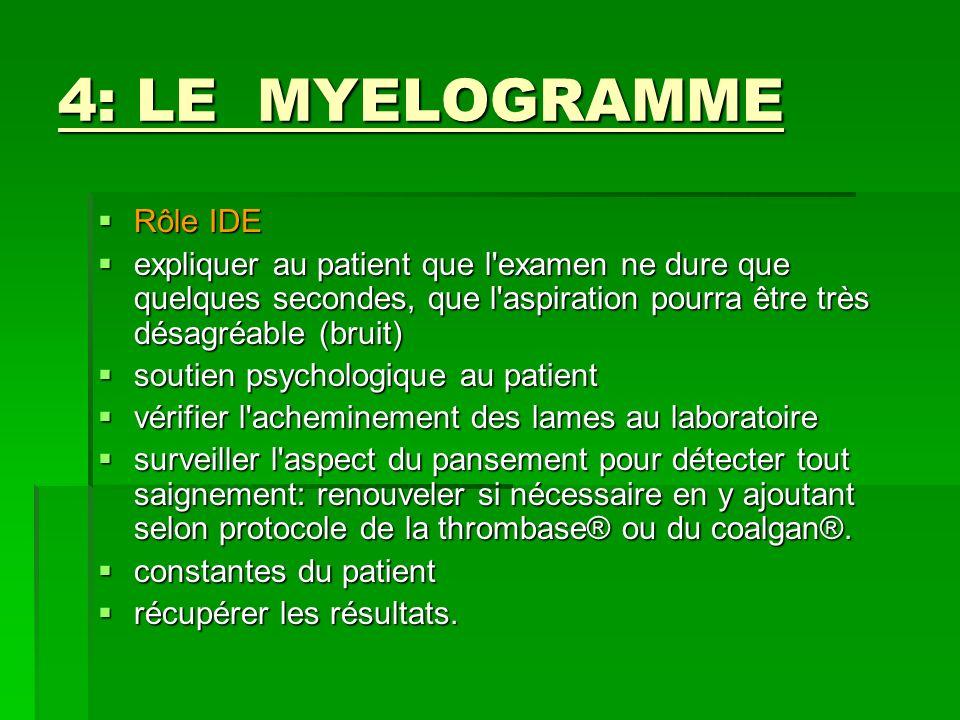 4: LE MYELOGRAMME Rôle IDE