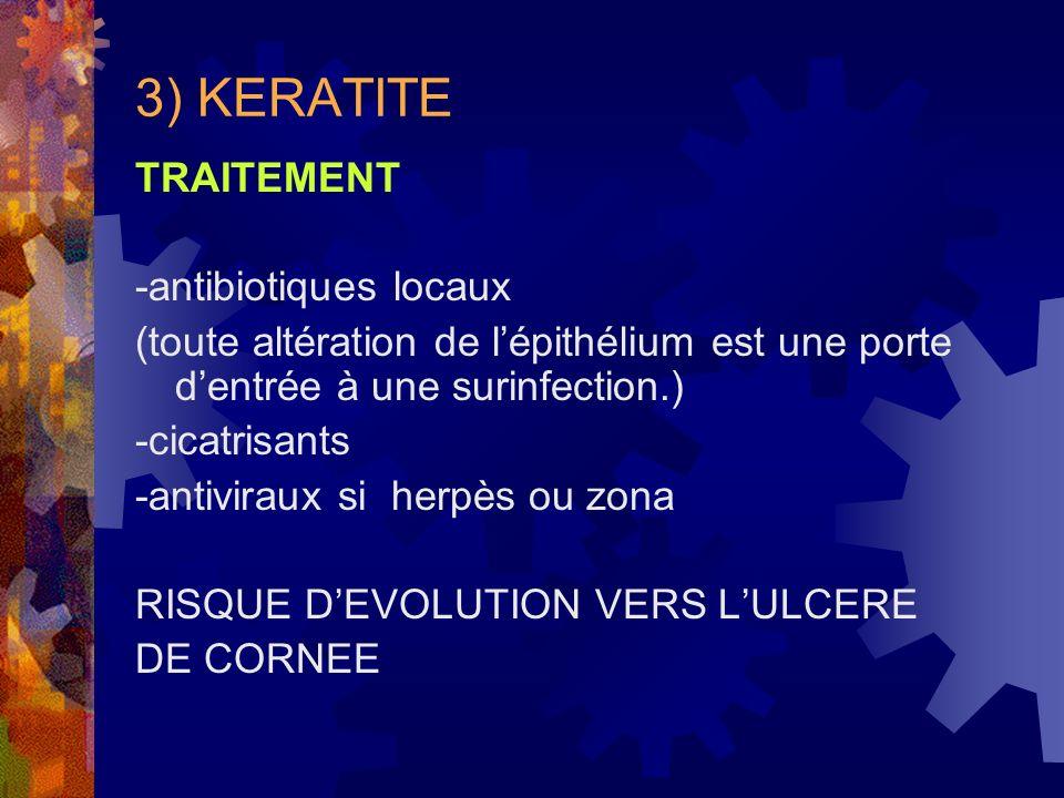 3) KERATITE TRAITEMENT -antibiotiques locaux